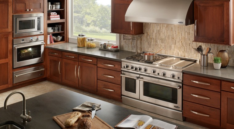 View of kitchen with DCS appliances by Fisher cabinetry, countertop, cuisine classique, home appliance, interior design, kitchen, kitchen appliance, kitchen stove, brown