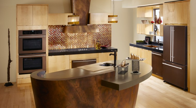 Bronze contemporary kitchen cabinetry, countertop, cuisine classique, floor, flooring, hardwood, interior design, kitchen, room, wood flooring, orange, brown