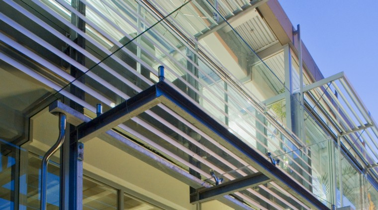 View of Locarno Louvres on the GCF Building architecture, commercial building, daylighting, facade, mixed use, real estate, roof, structure, gray