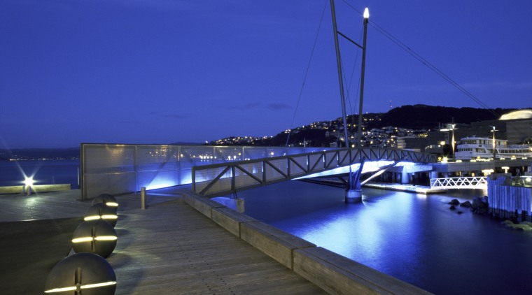 This design, called Wellington Waterfront Promenade, received and dock, evening, lighting, marina, night, resort, sea, sky, swimming pool, water, blue