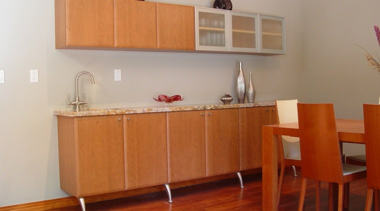 Timber unit dining area cabinetry, chest of drawers, countertop, cupboard, floor, flooring, furniture, hardwood, interior design, kitchen, laminate flooring, plywood, product, property, room, shelf, sideboard, table, wall, wood, wood flooring, wood stain, gray
