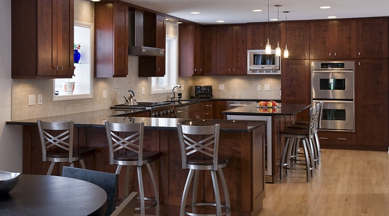 View of kitchens remodelled by Apex Kitchen and cabinetry, countertop, cuisine classique, floor, flooring, hardwood, interior design, kitchen, laminate flooring, room, wood, wood flooring, red, gray