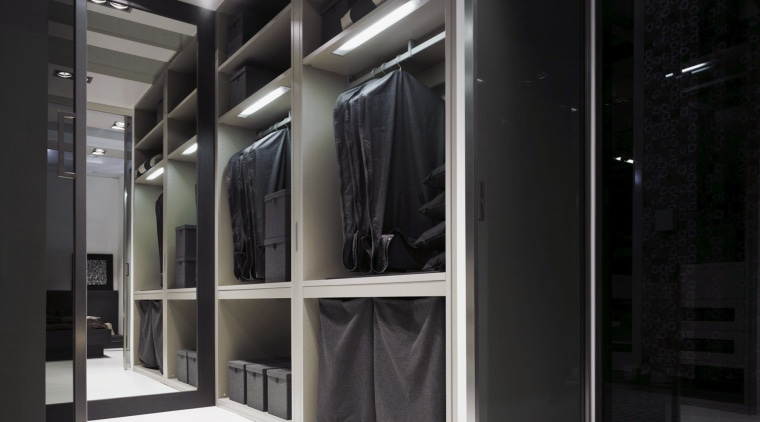 This closet from metrichome incorporates many containers and boutique, closet, furniture, interior design, wardrobe, black