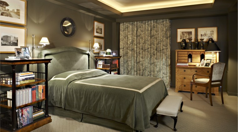The bedroom design was driven by the owners bed frame, bedroom, ceiling, furniture, home, interior design, room, brown