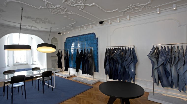 A raepating motif of the tree of life boutique, ceiling, exhibition, interior design, product design, gray