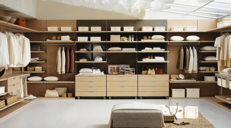 FEG Wardrobe system from DK Design inside contemporary cabinetry, closet, furniture, interior design, shelving, wardrobe, gray