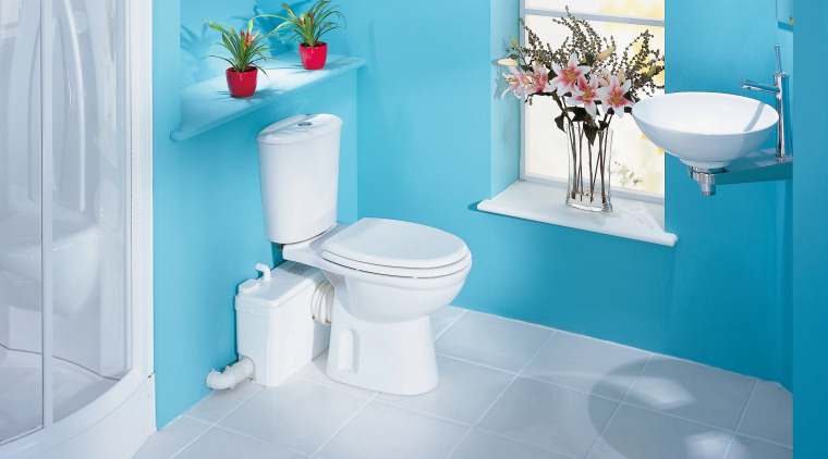 Saniflo small-bore and macerator pumps enable the installation bathroom, bathroom sink, bidet, blue, ceramic, floor, interior design, plumbing fixture, product, product design, purple, room, tap, tile, toilet, toilet seat, gray, teal