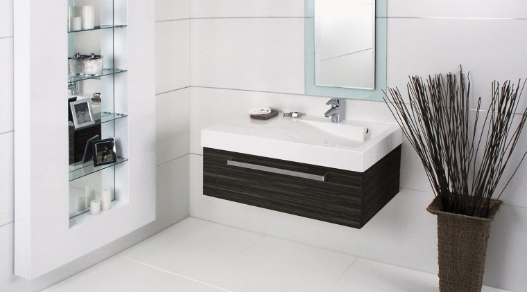 The Glide 900 vanity, finished in Fudge Stream angle, bathroom, bathroom accessory, bathroom cabinet, floor, plumbing fixture, product, product design, room, tap, white