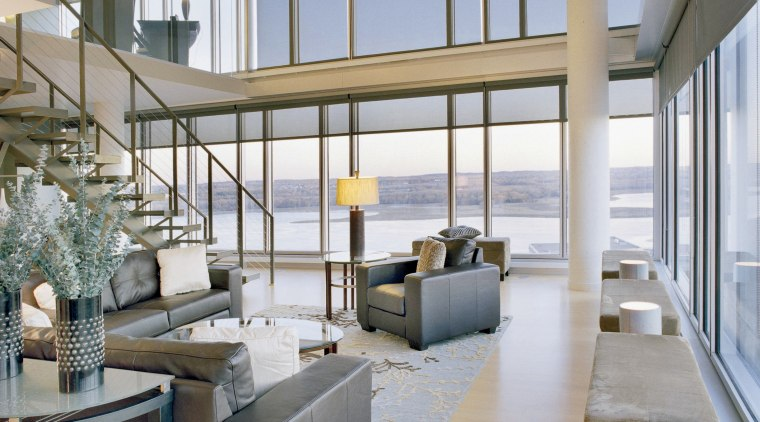 Hunter Douglas Commercial Greenscreen Generation sunscreens are used condominium, interior design, living room, penthouse apartment, real estate, window, gray
