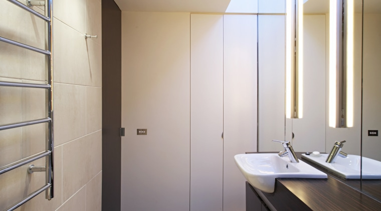 This comapct bathroom was moved from the rear architecture, bathroom, ceiling, daylighting, floor, home, house, interior design, real estate, room, gray