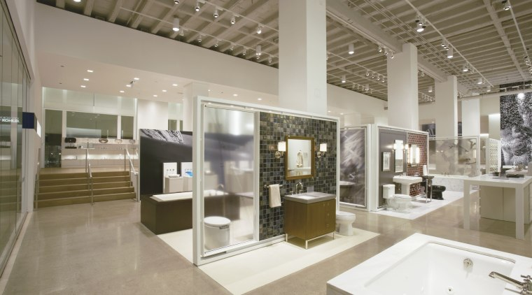 Working models of many Kohler products can be exhibition, interior design, gray, brown