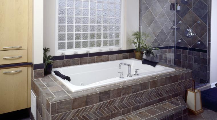 By working to a homeowner's requests, Casa Bella bathroom, bathtub, floor, flooring, interior design, room, tile, wall, gray