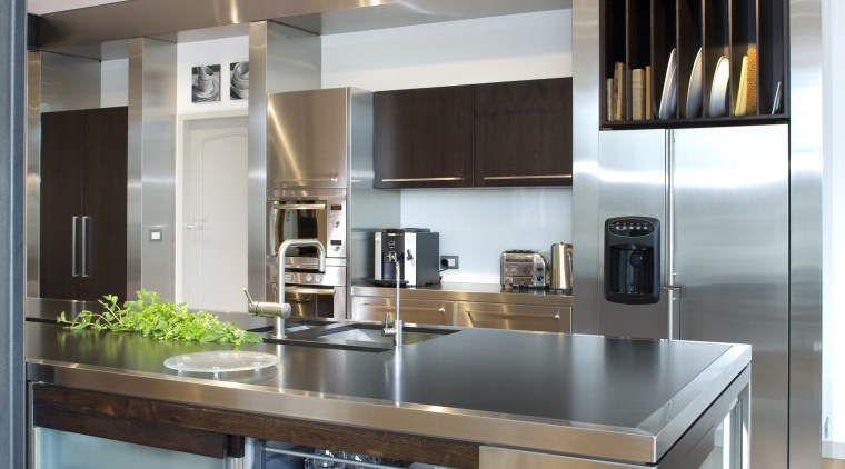 The kitchen, designed by architect Gordon Moller and cabinetry, countertop, cuisine classique, home appliance, interior design, kitchen, white