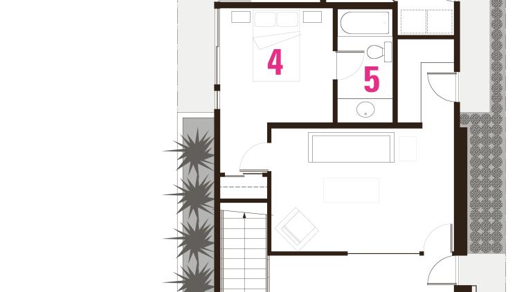 1 entrance, 2 patio, 3 rumpus, 4 bedroom, architecture, design, floor plan, plan, product, product design, structure, white