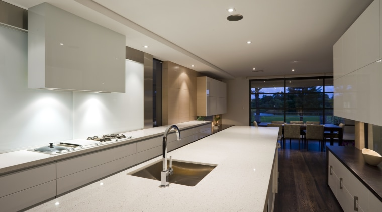 To keep the lines in the kitchen as architecture, countertop, house, interior design, kitchen, real estate, gray
