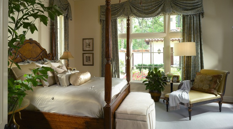 Image of master bedroom which has an ensuite bed, bed frame, bedroom, ceiling, estate, four poster, furniture, home, interior design, real estate, room, suite, window, window covering, window treatment, brown