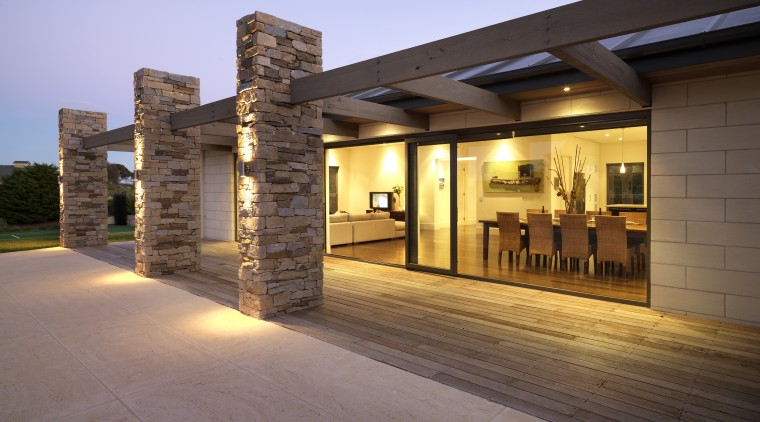View of open-plan living and dining areas of architecture, estate, home, house, lighting, property, real estate, brown