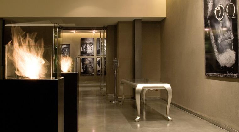The new EcoSmart Fire Tower makes a striking floor, flooring, interior design, lobby, brown
