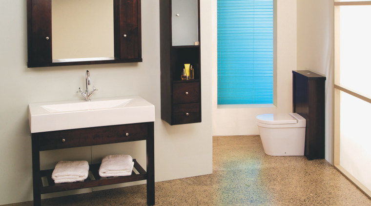 Plumb-Lines Mensola suite within the Sistema range combines bathroom, bathroom accessory, bathroom cabinet, floor, plumbing fixture, product design, room, sink, white