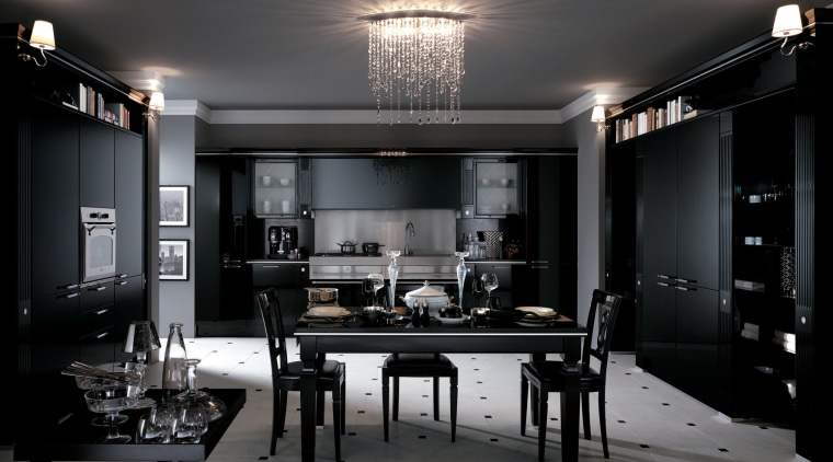 In this Absolute Classic kitchen in Baccarat are furniture, interior design, room, black, gray