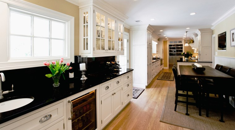 View of a kitchen designed by Drury Design cabinetry, countertop, cuisine classique, floor, flooring, home, interior design, kitchen, room, white