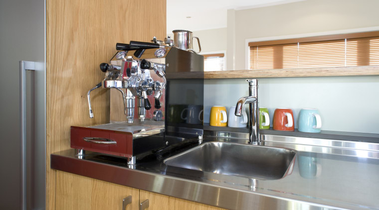 Kitchen designer Shane George suggests considering a coffee countertop, interior design, kitchen, real estate, room, white