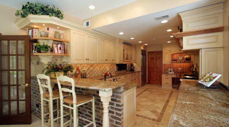 Image of a tuscan-styled kitchen which was designed cabinetry, ceiling, countertop, cuisine classique, estate, flooring, home, interior design, kitchen, real estate, room, orange, brown