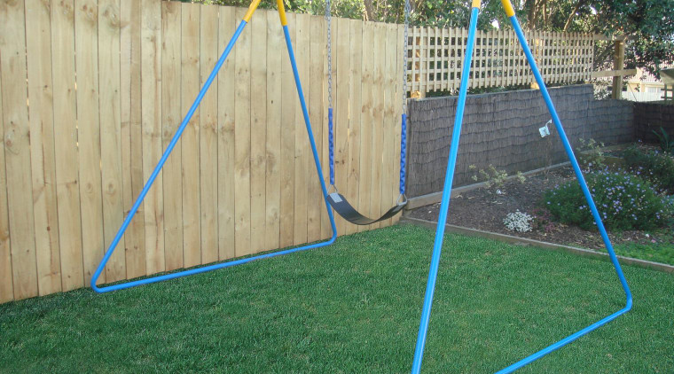 Image of outdoor play equipment created by Adams backyard, fence, grass, net, outdoor play equipment, play, playground, public space, swing, wood, yard, green