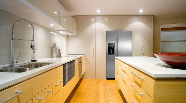 Humidity-controlled fruit and vegtable crispers and an ice-and-water bathroom, cabinetry, ceiling, countertop, floor, home, interior design, kitchen, property, real estate, room, sink, gray, orange