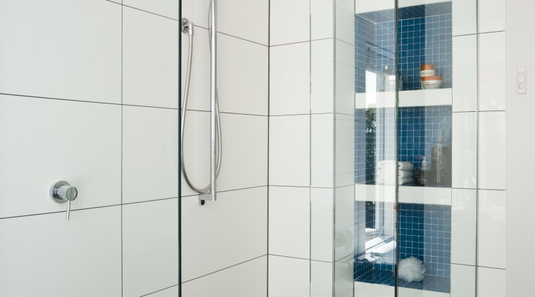 Image of the Shower enclosure showing the Shower angle, bathroom, floor, glass, plumbing fixture, product design, shower, tile, white