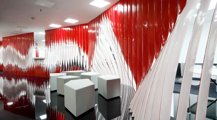 The Swissnex Shanghai office eatures twisted resin strips, architecture, ceiling, design, interior design, product design, gray, red