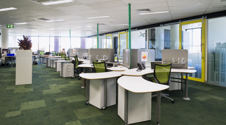 Free is a system of modular furniture that conference hall, desk, furniture, interior design, office, gray, green