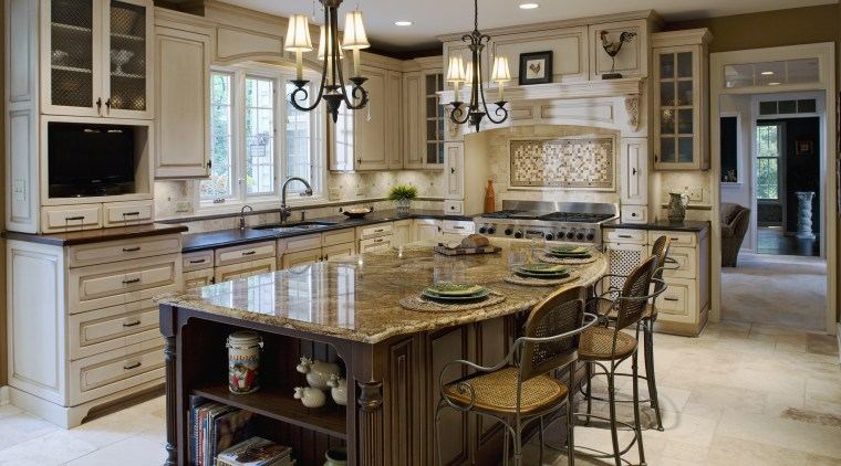 View of a new kitchen which was designed cabinetry, countertop, cuisine classique, dining room, floor, flooring, hardwood, interior design, kitchen, room, wood flooring, gray, brown