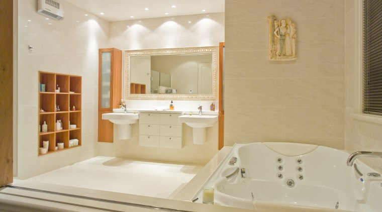 Bathrooms fixtures and fittings were supplied by Mico bathroom, estate, floor, home, interior design, room, sink, suite, orange