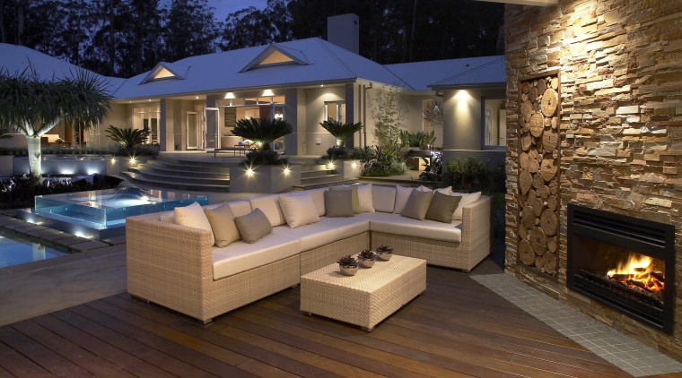 Headmaster has a long history in designing, manufacturing backyard, deck, fireplace, floor, home, interior design, lighting, living room, patio, real estate, brown