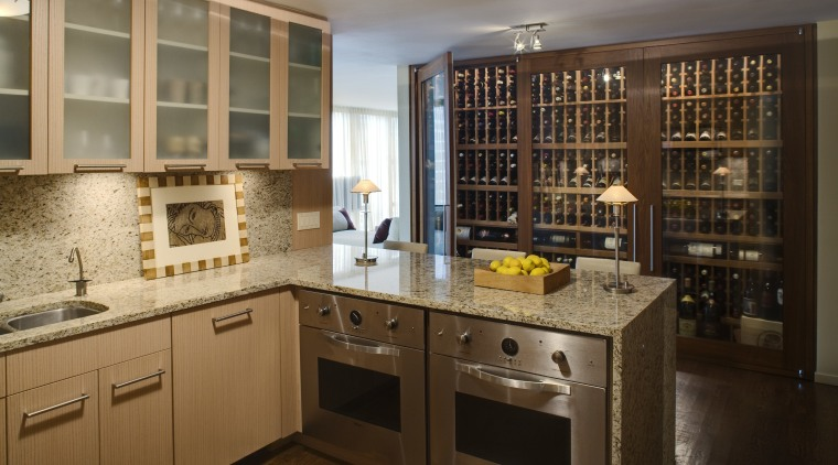 This apartment had a wine storage area fitted cabinetry, countertop, cuisine classique, interior design, kitchen, room, brown