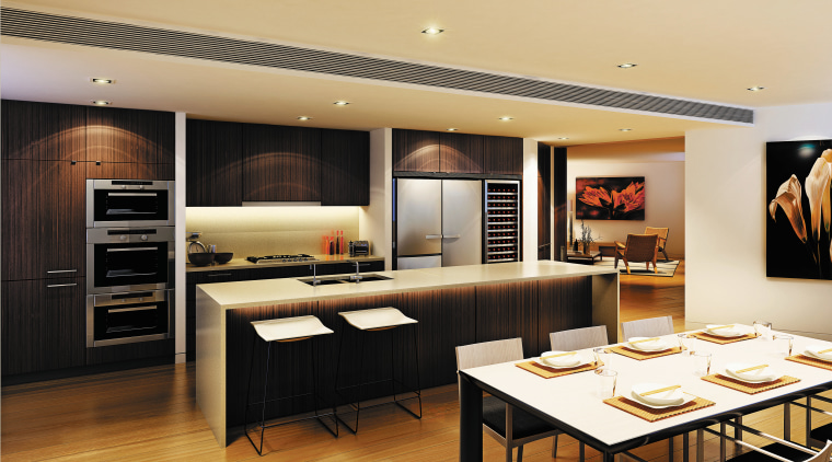 The new 155SGE Wine cabinet offers a combination interior design, kitchen, living room, table, orange, black