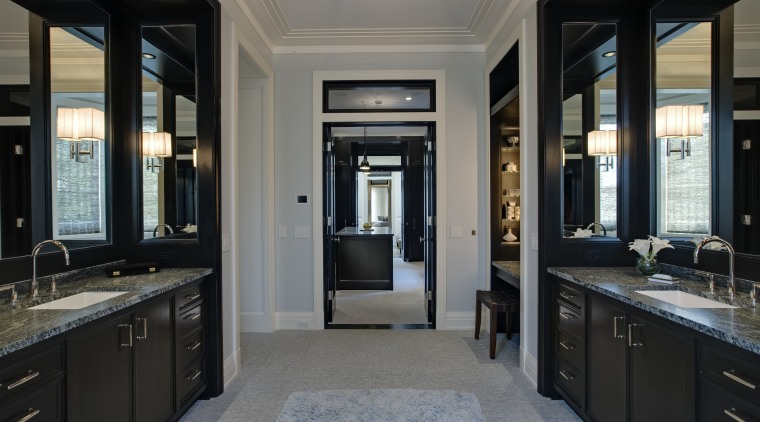 View of the master bathroom. Two identical vanities bathroom, cabinetry, countertop, estate, home, interior design, room, black, gray