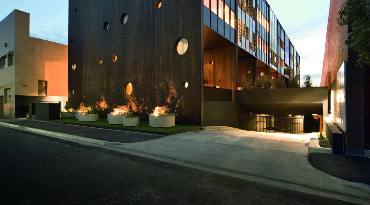 Exterior view of the Hue apartment building which apartment, architecture, building, commercial building, condominium, corporate headquarters, estate, facade, headquarters, home, house, mixed use, property, real estate, residential area, sky, black
