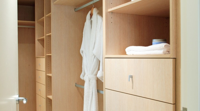 Hope style apartments located in Wahroonga on Sydney's cabinetry, chest of drawers, closet, cupboard, drawer, furniture, product, room, shelf, shelving, wardrobe, orange, brown