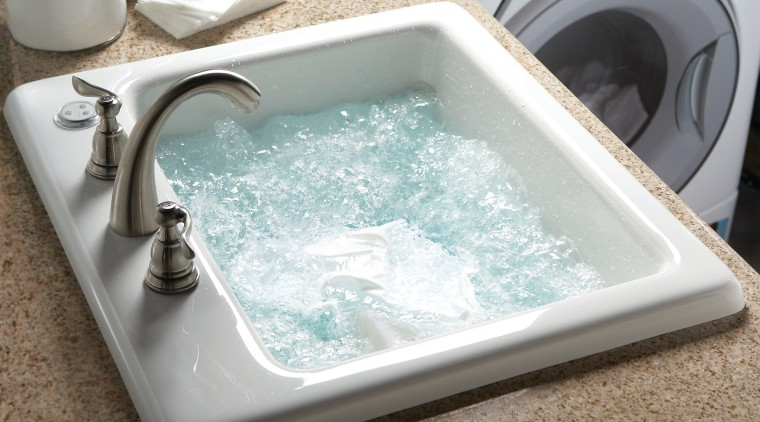 Image of the Delicair Laundry Basin from Aquatic bathroom sink, bathtub, jacuzzi, plumbing fixture, sink, tap, white, brown
