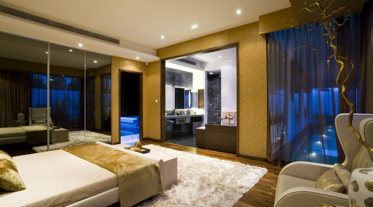 View of the master bedroom with custom made ceiling, interior design, living room, real estate, room, suite, brown