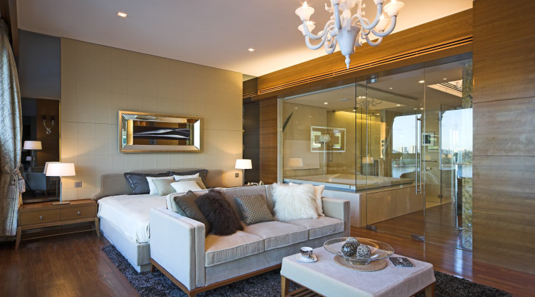 Master suite in a Hong Kong waterside apartment.Featuring ceiling, estate, floor, hardwood, home, interior design, living room, real estate, room, suite, wall, wood flooring, brown, gray
