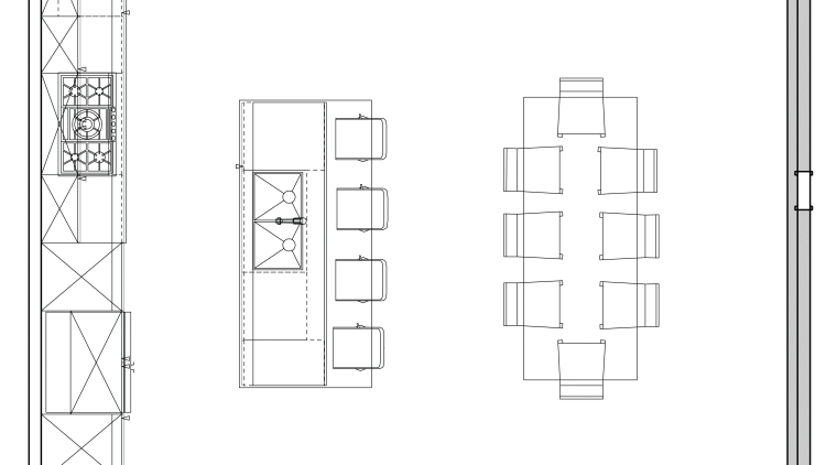 Floor plan of the kitchen and dining areas. angle, area, black and white, design, diagram, drawing, floor plan, font, line, plan, product design, structure, technical drawing, text, white