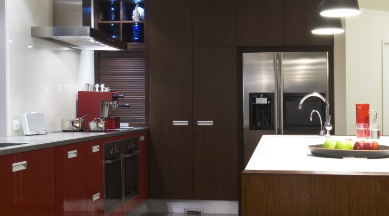 View of open-planned kitchen which features a kitchen countertop, interior design, kitchen, room, gray, black