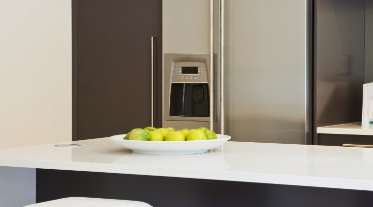 View of Smeg ovens. chair, furniture, interior design, light fixture, product design, table, gray, black