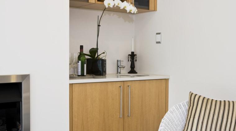 Bar Unit with white oak veneer. chest of drawers, floor, flooring, furniture, interior design, living room, room, shelf, shelving, wood, white