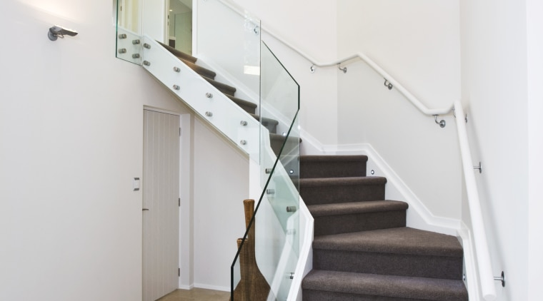 This project, developed by NZ built, focuses on architecture, ceiling, daylighting, floor, flooring, handrail, hardwood, home, house, interior design, property, real estate, stairs, wood, wood flooring, gray