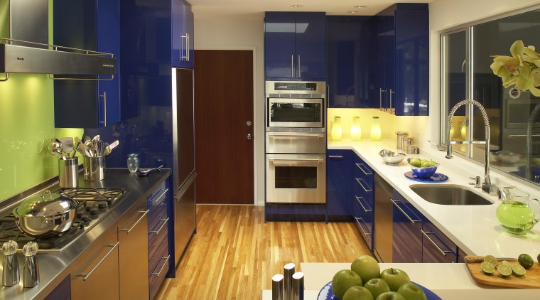 View of a new kitchen oak flooring, CaesarStone countertop, interior design, kitchen, real estate, room