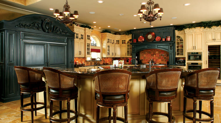 Traditional Kitchen with Island bar stools cabinetry, countertop, dining room, flooring, interior design, kitchen, brown, orange